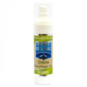 Crème argent colloïdal 50ppm & 12% d'huile d'argan bio 50ml problèmes de peau adolescence acné