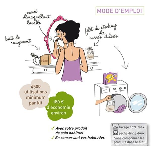 Les Tendances d'Emma Kit Eco belle Bois Carrés démaquillants lavables Coton bio Biface