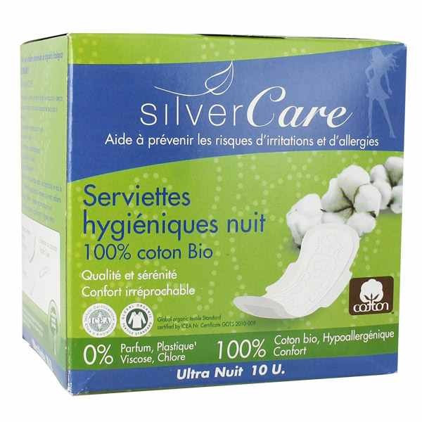 Silver care Serviettes ultra fines Nuit coton bio x10