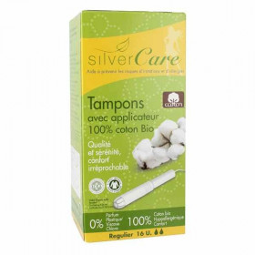 Silver care Tampons Coton bio avec Applicateur Normal x16