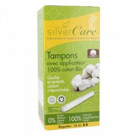 Silver care Tampons Coton bio avec Applicateur Normal x16