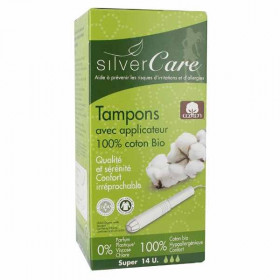 Silver care Tampons Coton bio avec Applicateur Super x14