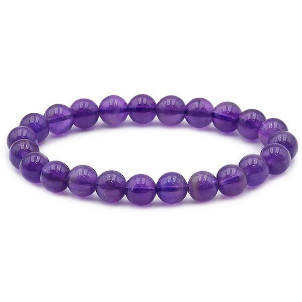 Bracelet Améthyste Perles Rondes 8 mm - Pierres naturelles