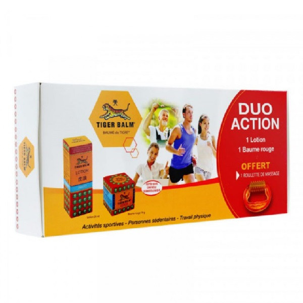 Coffret Duo Action Baume du Tigre - 1 baume rouge + 1 lotion + 1 roulette massage Offerte