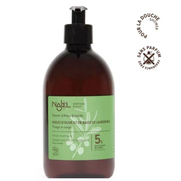 psoriasis, eczéma, cosmétique, naturel, alep liquide, acné, gel douche, najel,huile de laurier, olive,savon d'alep liquide bio