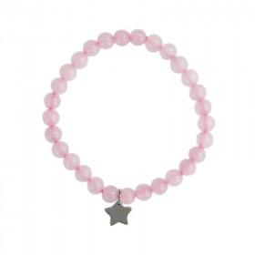 Bracelet Quartz Rose Perles en pierre naturelle 6mm + Charm