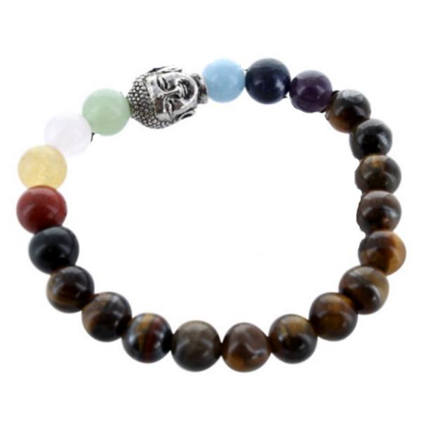 Bracelet 7 Chakras Oeil de tigre Bouddha - Perles rondes 8 mm