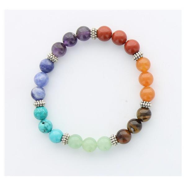 Bracelet 7 Chakras Mix Perles rondes 8 mm - Harmonisation